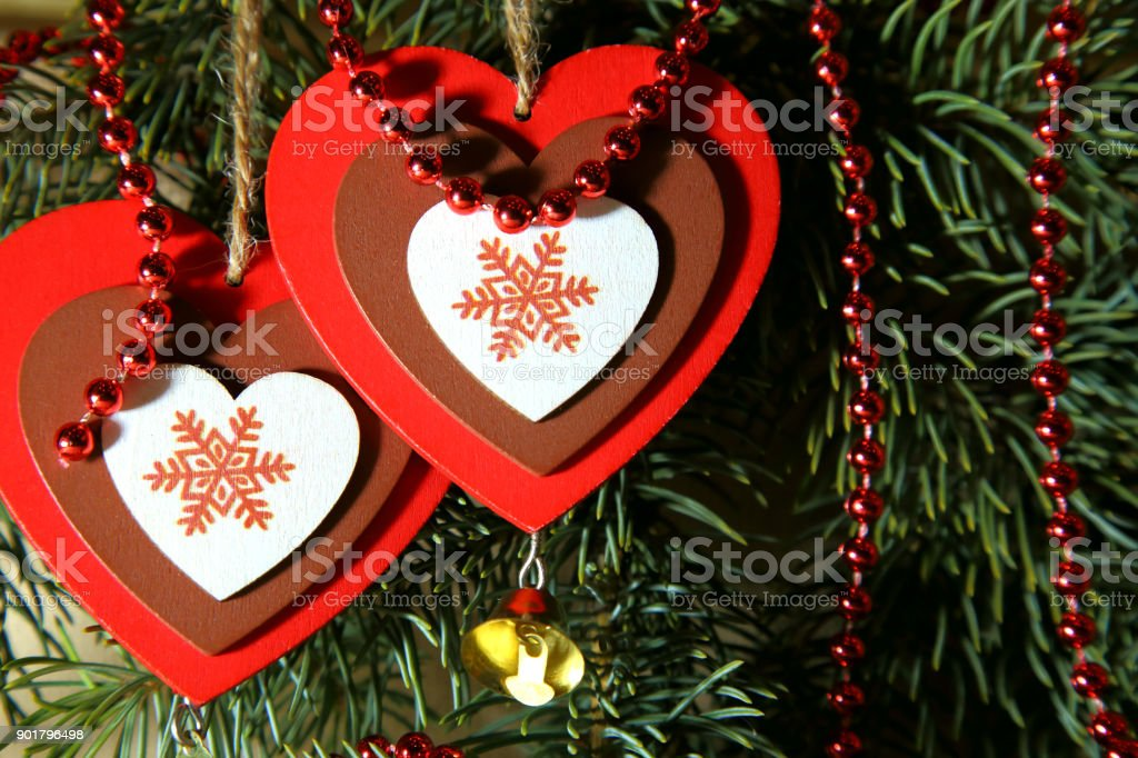 Christmas New Year St Valentines Day Love Two Multicolored Hearts