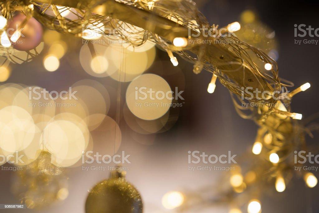 Christmas new year yellow gold light stock photo