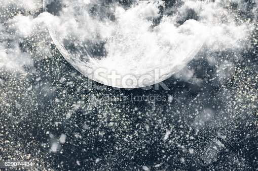 478539432 istock photo Christmas Night Winter Background With Dark Sky, Moon, Clouds an 629074434