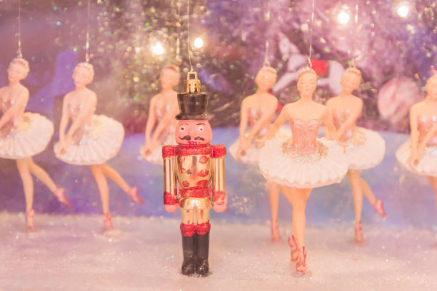 christmas nutcracker toy soldier and balerina dolls on the stage. famous russian ballet installation. - principe persona nobile foto e immagini stock