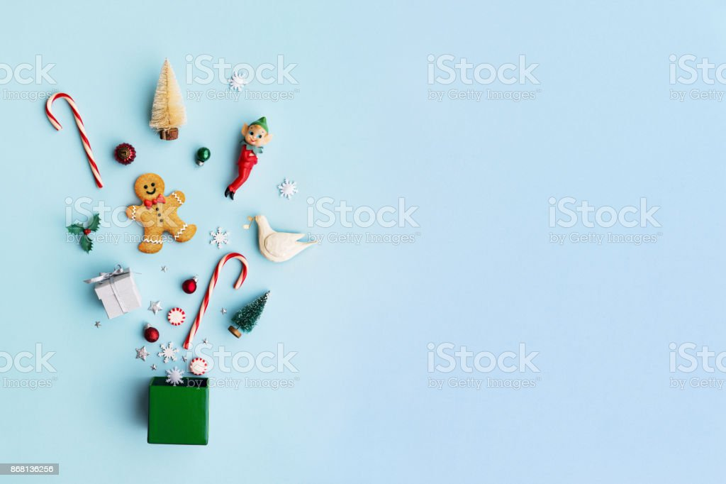 Christmas objects in a gift box