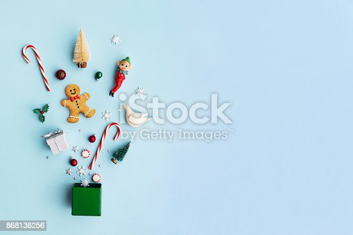 istock Christmas objects in a gift box 868136256