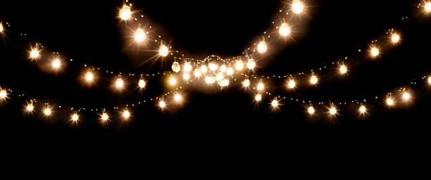 Weihnachten der Hochzeitslichter isoliert auf schwarz – Foto