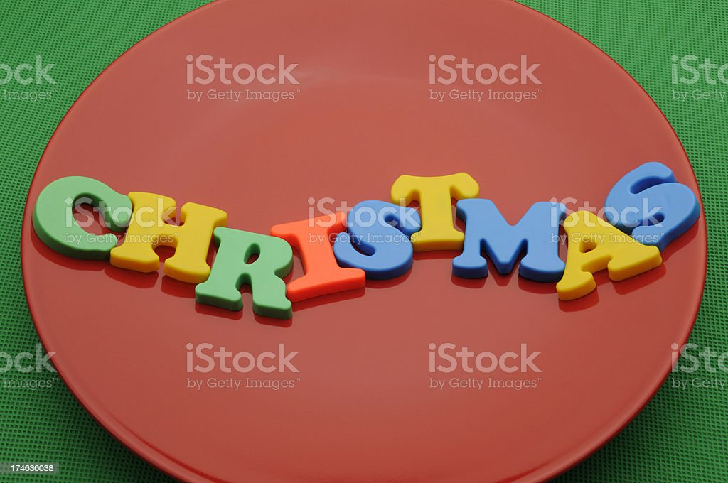 Christmas on a Red Plate royalty-free stock photo