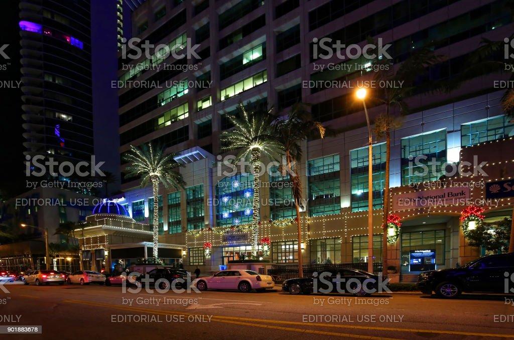 Christmas on Las Olas Boulevard, Fort Lauderdale, Florida stock photo