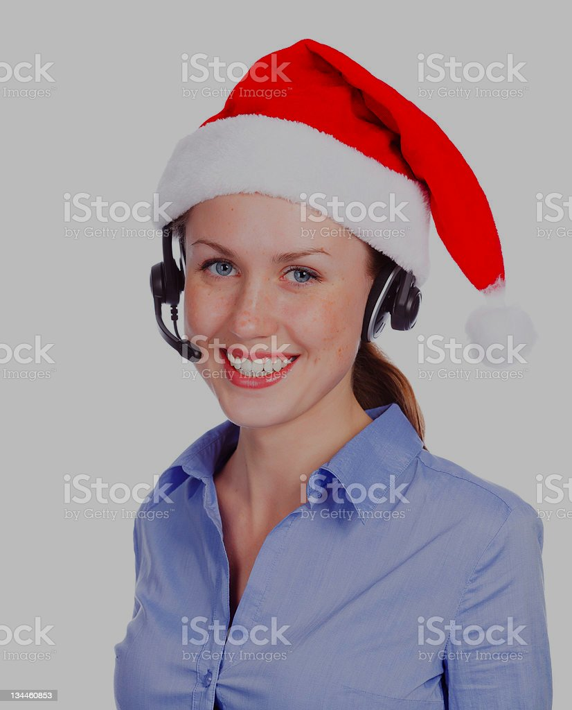 Christmas operator woman royalty-free stock photo