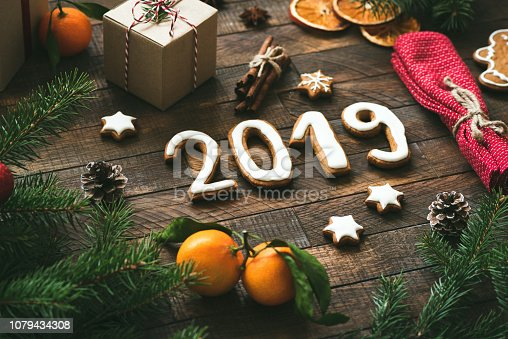 1049972562 istock photo Christmas or New Year 2019 greeting card 1079434308