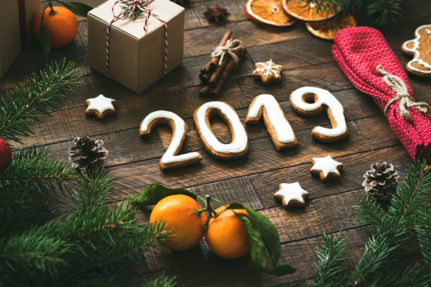 Christmas or New Year 2019 greeting card stock photo