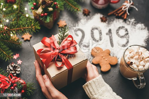 istock Christmas or New Year 2019 Hands Holding Gift Box 1070054398