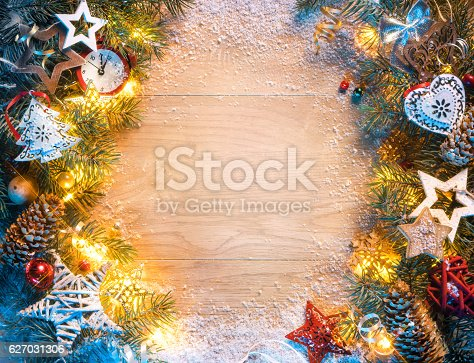 istock Christmas or New Year background with decorations 627031306