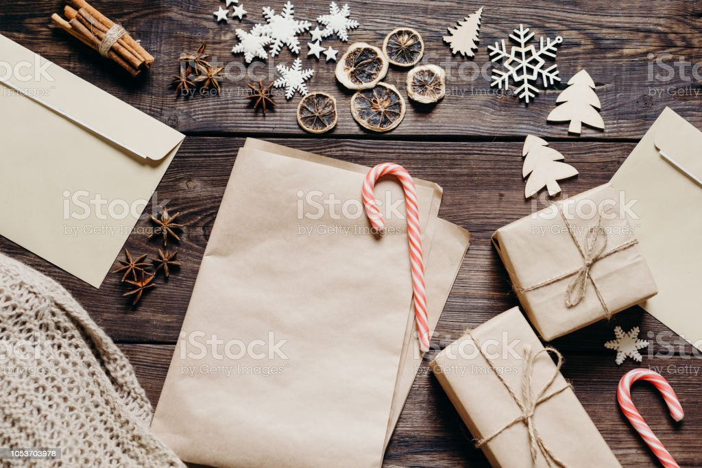 Christmas or New Year background with empty card stock photo