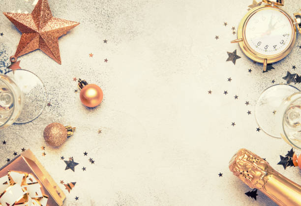 christmas or new year composition, gray background with gold christmas decorations - new year imagens e fotografias de stock