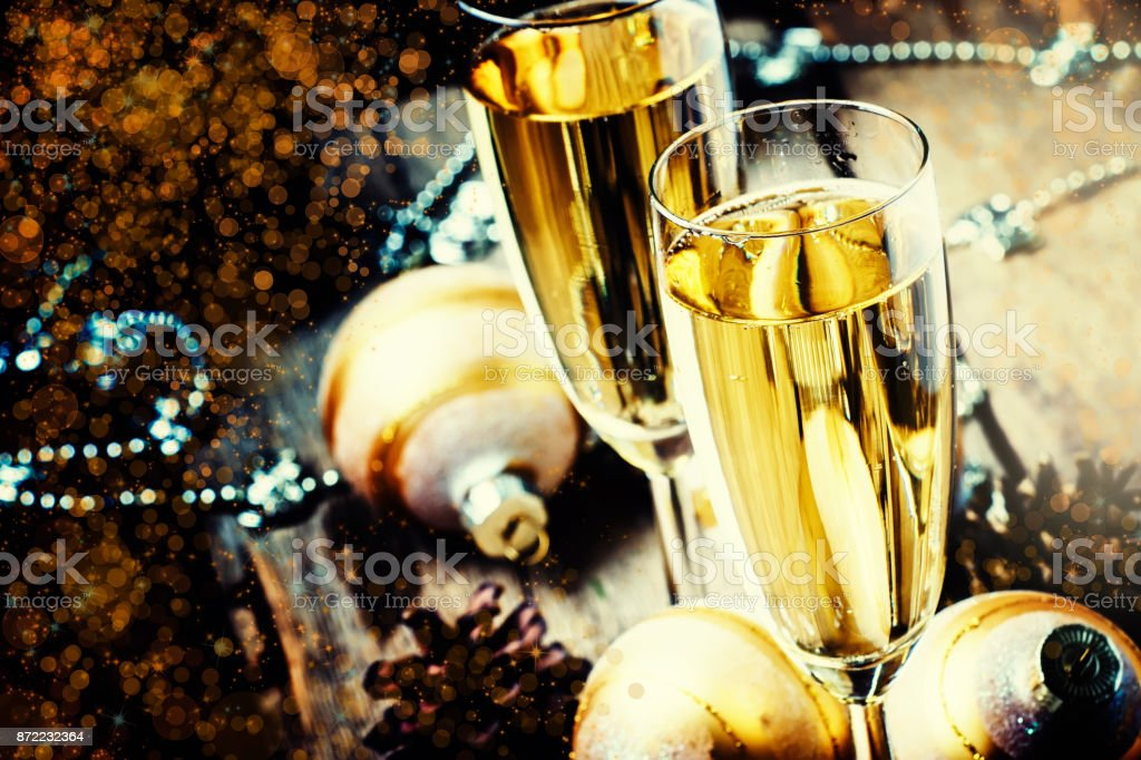 Christmas Or New Year Composition With Champagne In Glasses stock photo