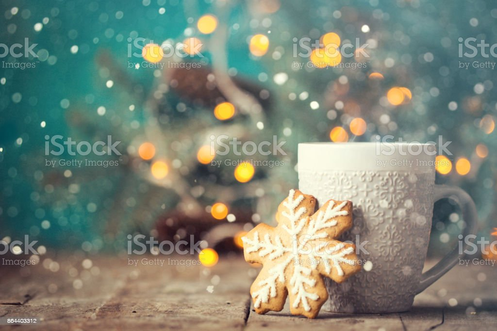 Christmas or New Year composition with cocoa, marshmallows, gingerbread cookies and christmas decorations stock photo