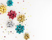 istock Christmas or New Year composition with gold sparkling ribbo 1278457066