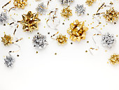 istock Christmas or New Year composition with gold sparkling ribbo 1278457113