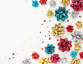 istock Christmas or New Year composition with gold sparkling ribbo 1278457116