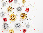 istock Christmas or New Year composition with gold sparkling ribbon 1277012194