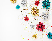 istock Christmas or New Year composition with gold sparkling ribbon 1277012208