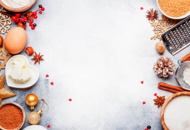 christmas or new year composition with ingredients for baking or cookies - christmas cooking imagens e fotografias de stock