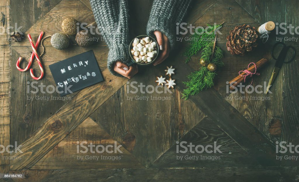 Christmas or New Year holiday background, copy space royalty-free stock photo