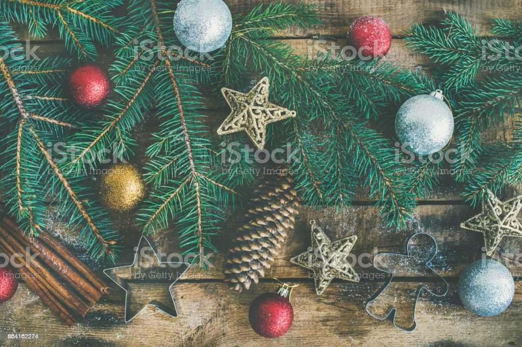 Christmas or New Year holiday flat-lay royalty-free stock photo