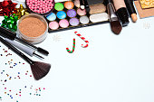 Christmas or New Year party makeup background, free space for text