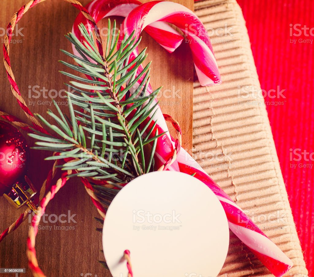 christmas or new year present wrapping stock photo