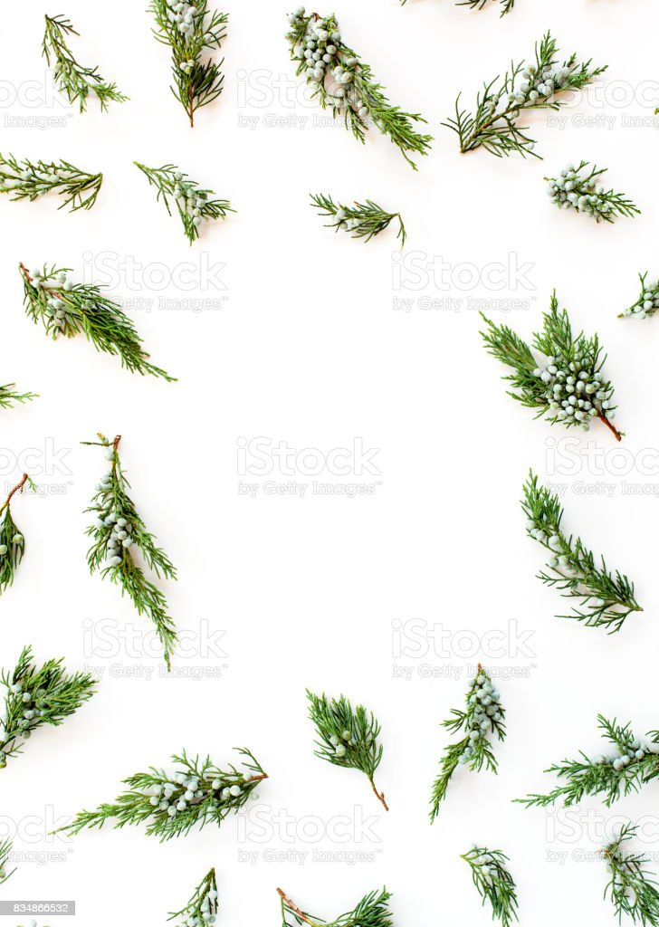 Weihnachten oder Silvester Konzept. Gestell aus Tannenzweigen isoliert auf weißem Hintergrund. Flach legen, Top Aussicht – Foto