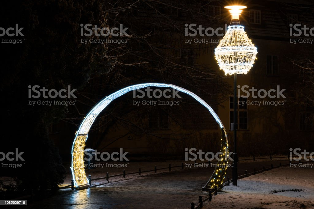 Christmas or new years eve gate in a park. stock photo
