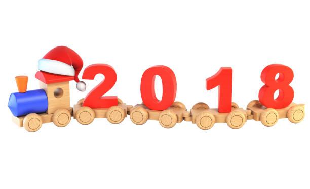 weihnachten oder silvester holzspielzeug zug, zahlen 2018 als eisenbahn autos 3d-rendering - festzugskleidung stock-fotos und bilder