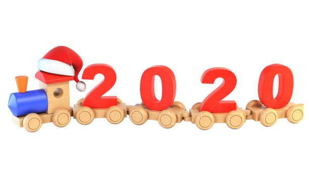 weihnachten oder silvester holzspielzeug zug, zahlen 2020 als eisenbahn autos 3d-rendering - festzugskleidung stock-fotos und bilder