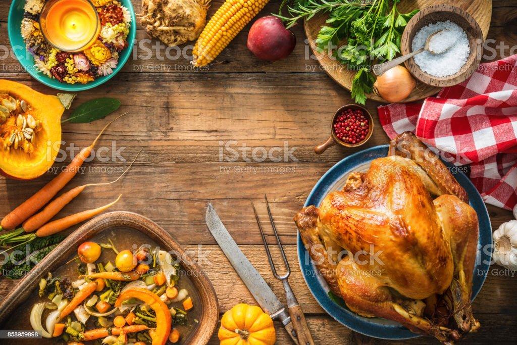 Christmas or Thanksgiving turkey Christmas or Thanksgiving turkey on rustic wooden table Autumn Stock Photo