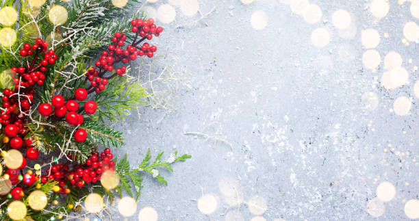 Christmas or winter background with a border of evergreen branches and red berries Christmas or winter background with a border of green and frosted evergreen branches and red berries on a grey vintage board. Flat lay, winter concept with copy space. vacations stock pictures, royalty-free photos & images