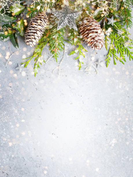 Weihnachten oder Winter Hintergrund mit einer Grenze von grünen und frostigen immergrünen Zweigen – Foto