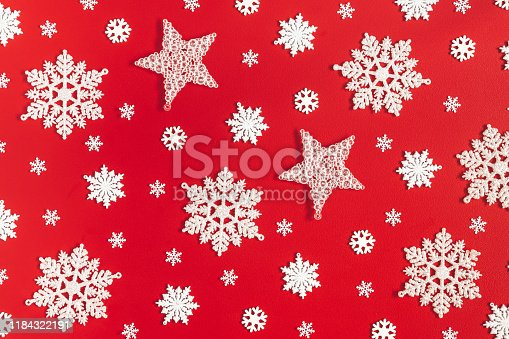 1062680370 istock photo Christmas or winter composition. Pattern made of snowflakes on red background. Christmas, winter, new year concept. Flat lay, top view 1184322191