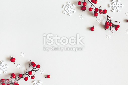 Christmas or winter composition. Snowflakes and red berries on gray background. Christmas, winter, new year concept. Flat lay, top view, copy space