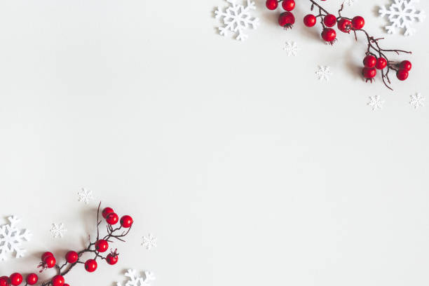 christmas or winter composition. snowflakes and red berries on gray background. christmas, winter, new year concept. flat lay, top view, copy space - snowflake background stock pictures, royalty-free photos & images