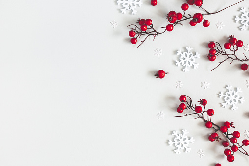 istock Christmas or winter composition. Snowflakes and red berries on gray background. Christmas, winter, new year concept. Flat lay, top view, copy space 1186658663