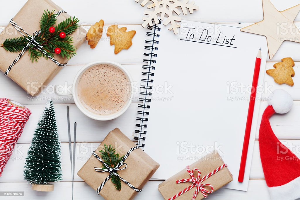 Christmas or winter planning concept with decorations. Flat lay style. stock photo