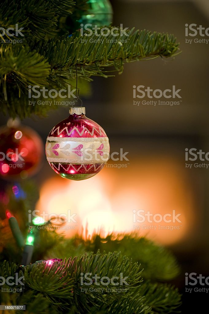 Christmas Ornament and Fireplace royalty-free stock photo