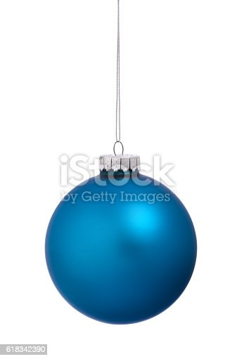 Christmas Ornament Bauble Blue Isolated on White Background