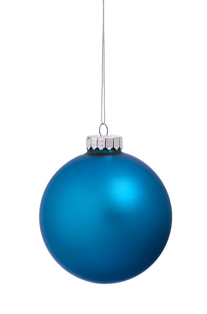 christmas ornament bauble blue isolated on white background - ornamentik stock-fotos und bilder