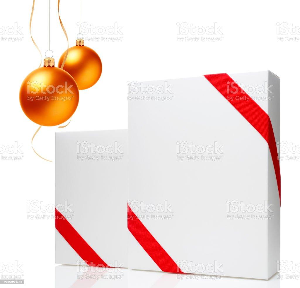 Christmas Ornament(Christmas Ball & Ribbon) & Blank Gift Box royalty-free stock photo