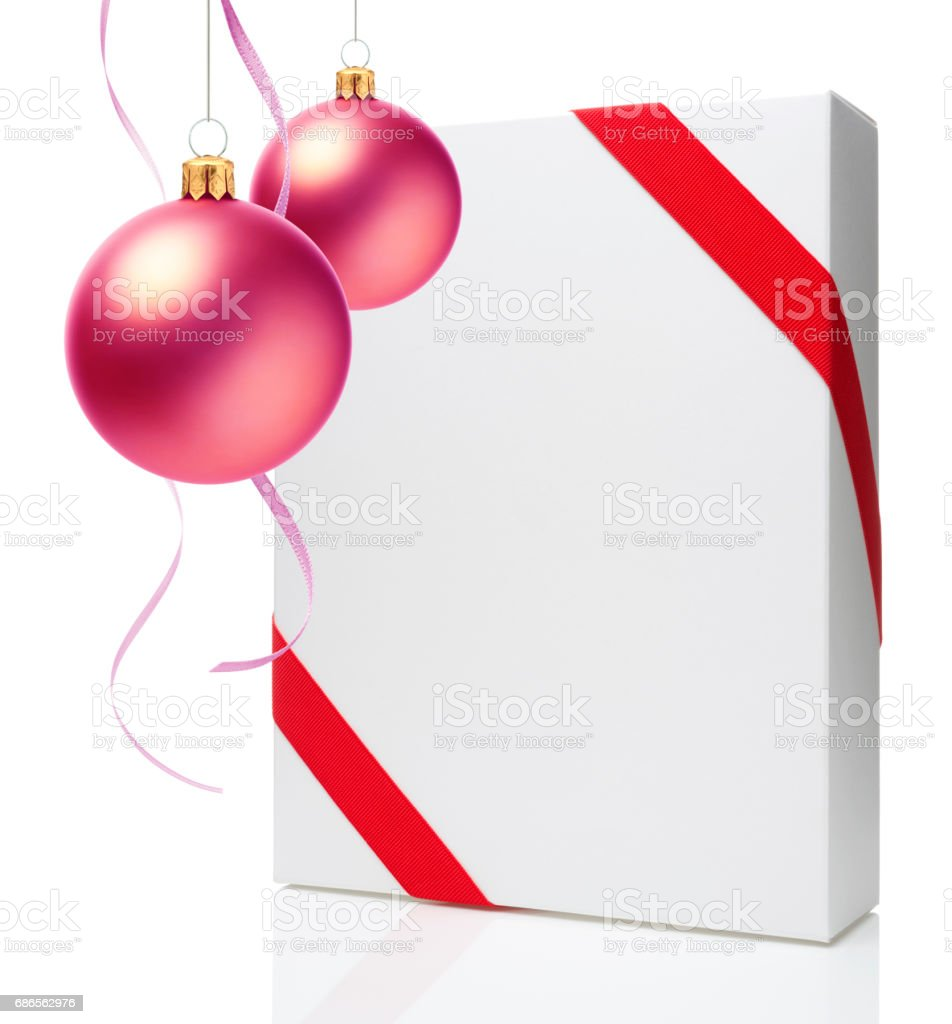 Christmas Ornament(Christmas Ball & Ribbon) & Blank Gift Box royalty-free stock photo