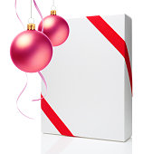 istock Christmas Ornament(Christmas Ball & Ribbon) & Blank Gift Box 686562976