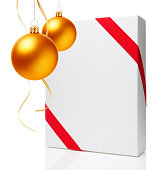 istock Christmas Ornament(Christmas Ball & Ribbon) & Blank Gift Box 687429656