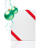 istock Christmas Ornament(Christmas Ball & Ribbon) & Blank Gift Box 687885986
