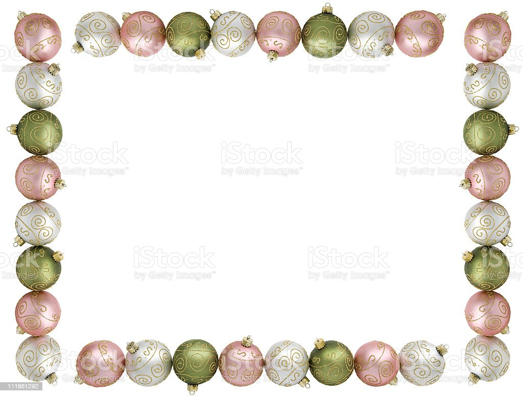 Christmas Ornament Border Isolated On White royalty-free stock photo