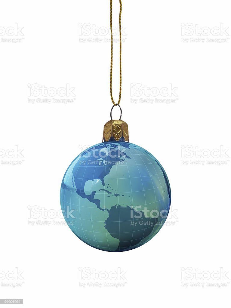 Christmas Ornament: Earth Globe royalty-free stock photo